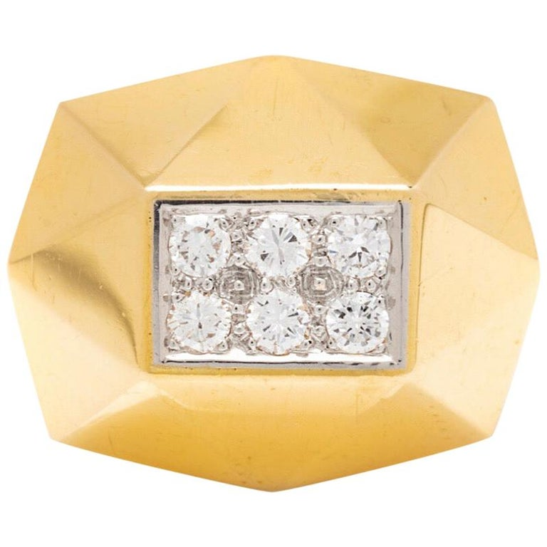 Art Deco Style Gold Diamond Ring For Sale
