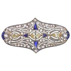 Art Deco Gold Diamond Sapphire Brooch Pin