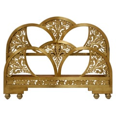 Art Deco Gold Double Bed Headboard and Foot Part, Spain, 1930s