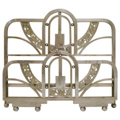 Art Deco Cromed Double Bed Headboard and Foot Part, Spain, 1930s