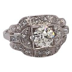 Art Deco Gold Engagement Ring 1.25 Carat Natural Old Euro Diamond, circa 1950