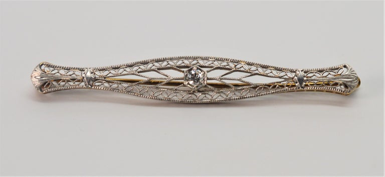 Old Mine Cut Art Deco Gold Filigree Bar Pin with Diamond Feature For Sale