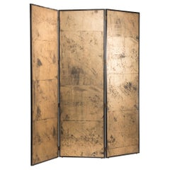 Art Deco Gold on Paper Three Panels Screen Room Divider