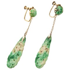 Art Deco Carved Green Jadeite Jade Dangle Earrings