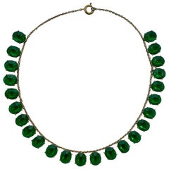 Art Deco Gold Plated Necklace with Emerald Green Paste Stone Drops circa 1930s
