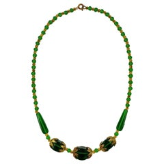 Art Deco Gold Plated Necklace with Grass Green and Amber Glass Beads