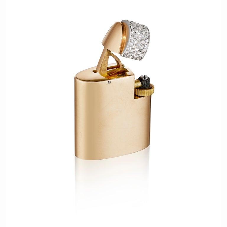 Round Cut Cartier Paris circa 1930 Art Deco Gold, Platinum, and Diamond Lighter For Sale