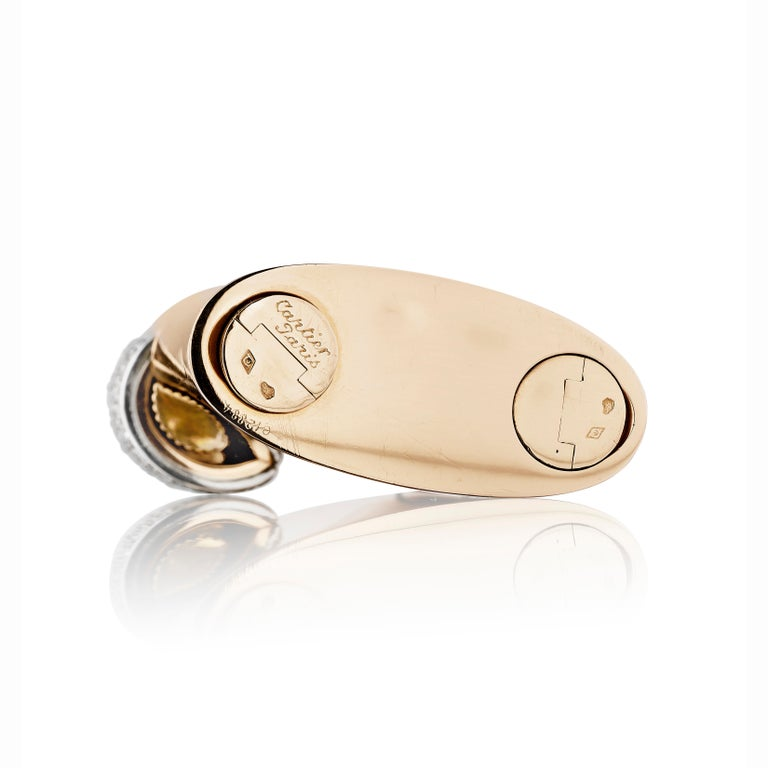 Cartier Paris circa 1930 Art Deco Gold, Platinum, and Diamond Lighter In Good Condition For Sale In New York, NY