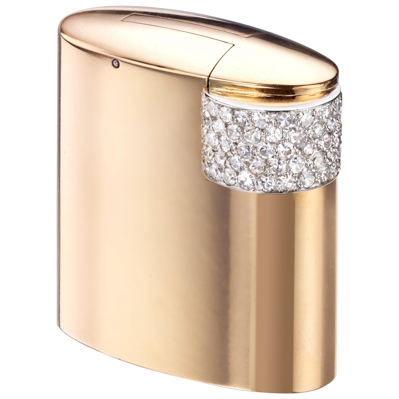 Cartier Paris circa 1930 Art Deco Gold, Platinum, and Diamond Lighter