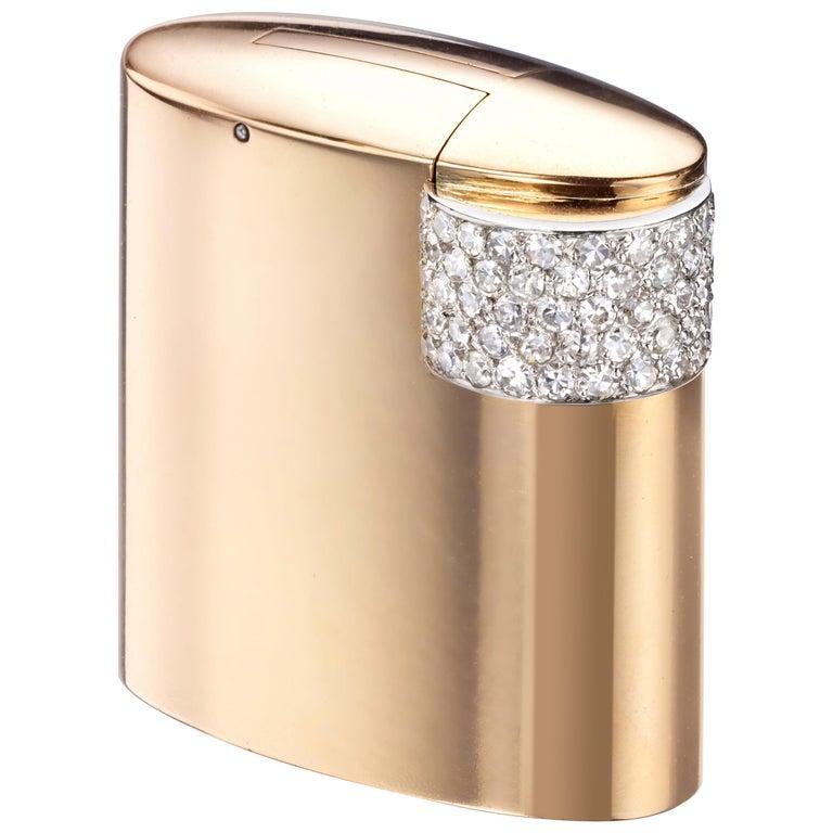 Cartier Paris circa 1930 Art Deco Gold, Platinum, and Diamond Lighter For Sale
