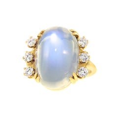 Art Deco Gold Ring Set with 14.86 Carat Moonstone