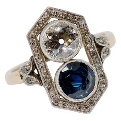 Art Deco Gold Ring with Big Diamond Solitaire and Blue Natural Sapphire