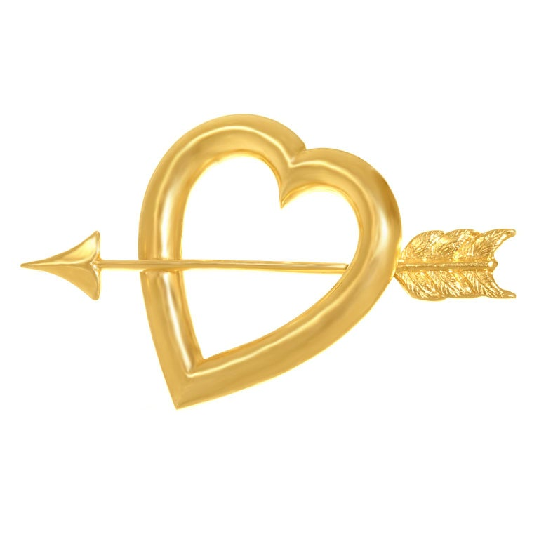 Art Deco Gold Sweet Heart Pin In Excellent Condition For Sale In Litchfield, CT