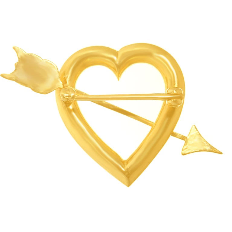 Art Deco Gold Sweet Heart Pin For Sale 3