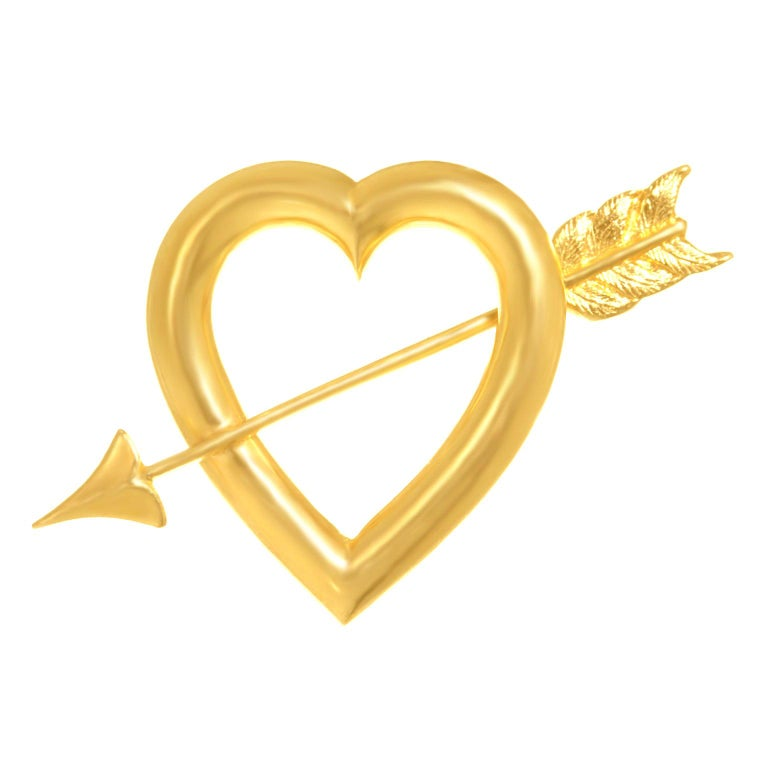Art Deco Gold Sweet Heart Pin For Sale