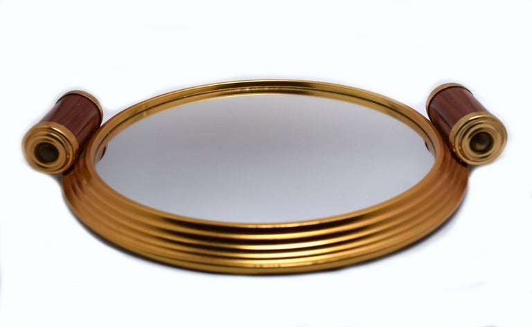 20th Century Art Deco Gold Tone and Mirrored Drinks Tray For Sale
