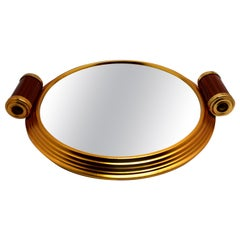 Art Deco Gold Tone and Mirrored Drinks Tray