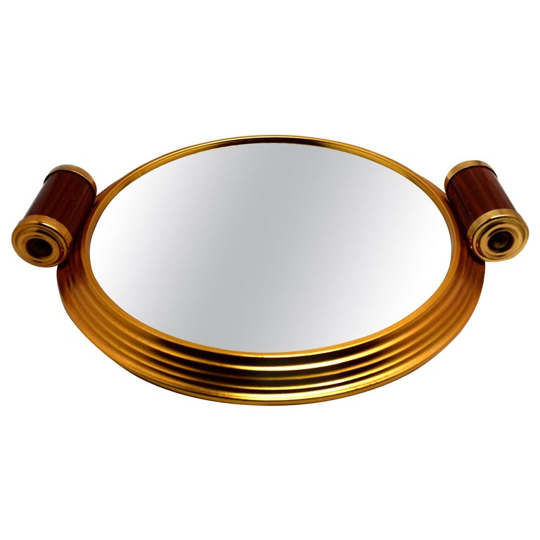 Art Deco Gold Tone and Mirrored Drinks Tray For Sale