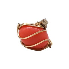 Art Deco Gold Woven Wrapped Coral Ring