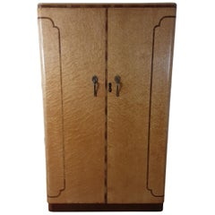 Art Deco Golden Bird's-Eye Maple British Wardrobe