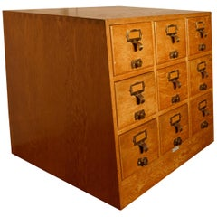 Art Deco Golden Oak Sloping Card Index Filing Cabinet by Libraco