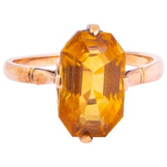 Art Deco Golden Topaz and 9 Carat Gold Ring