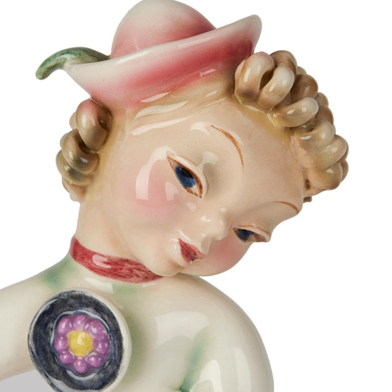 Austrian Art Deco Goldscheider Wien Girl with Dog Pottery Figure, circa 1930 For Sale