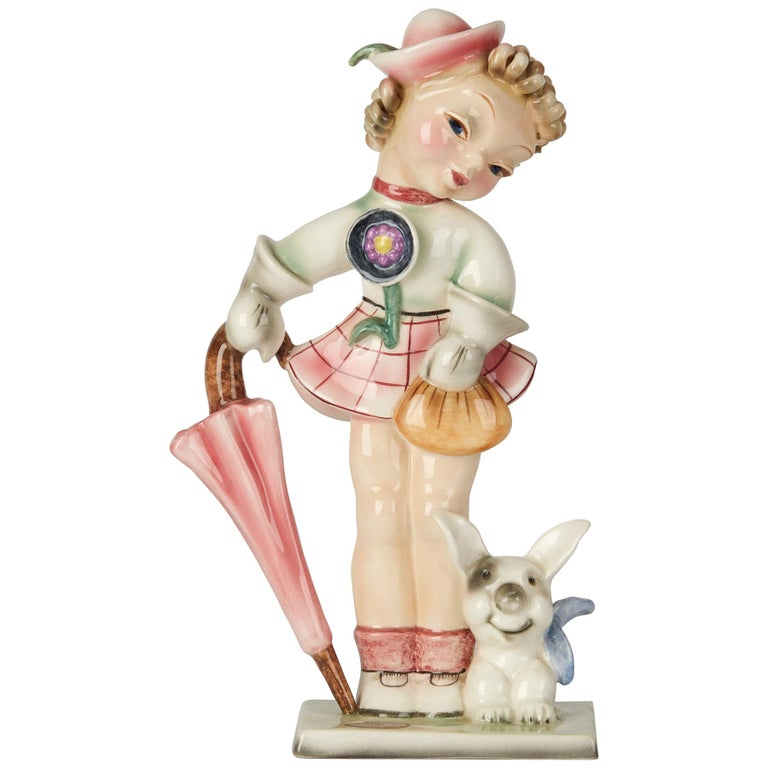 Art Deco Goldscheider Wien Girl with Dog Pottery Figure, circa 1930 For Sale