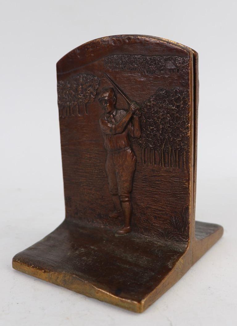American Art Deco Golf Bookends in Cast Bronze For Sale