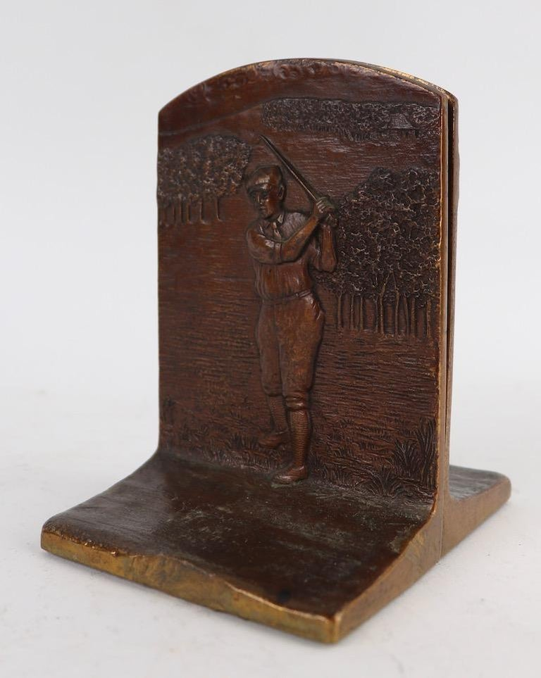 Art Deco Golf Bookends in Cast Bronze In Good Condition For Sale In New York, NY