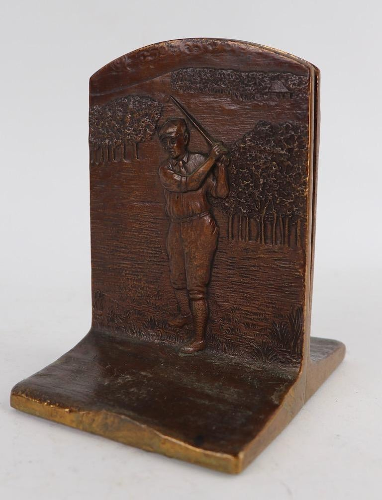 20th Century Art Deco Golf Bookends in Cast Bronze For Sale