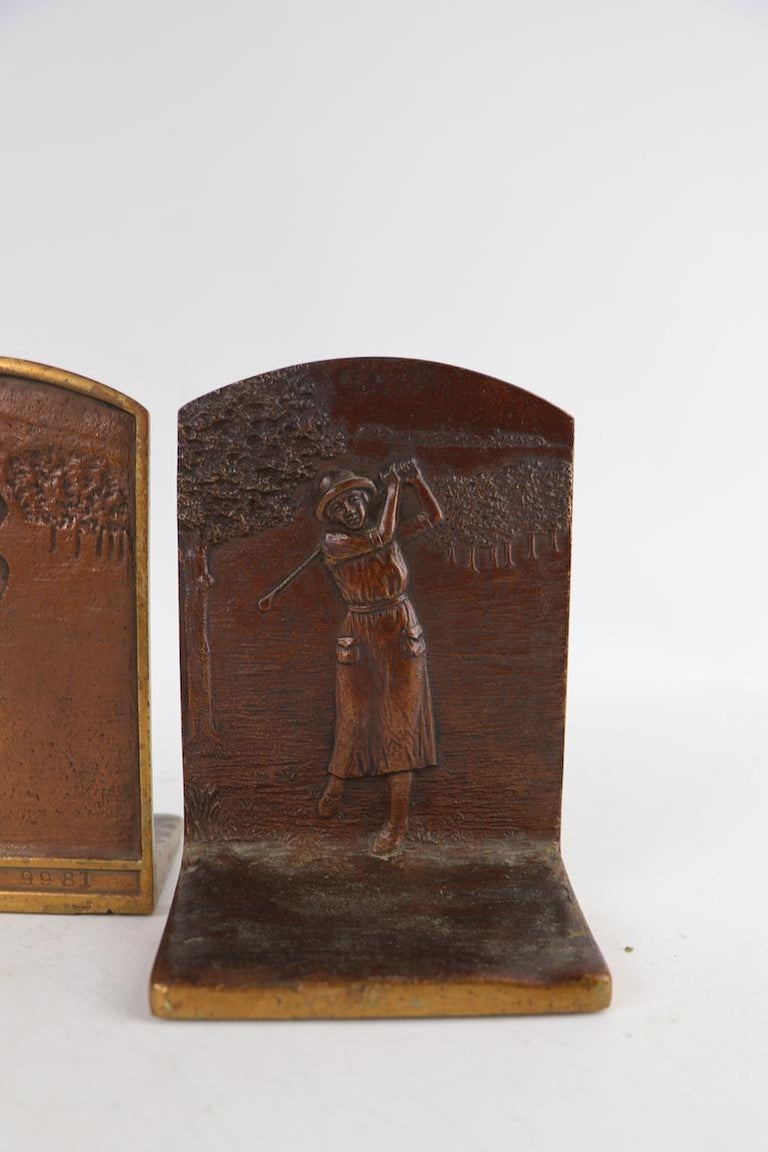 Art Deco Golf Bookends in Cast Bronze For Sale 2