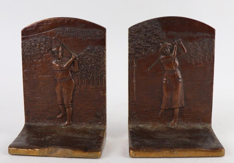 Art Deco Golf Bookends in Cast Bronze For Sale 3