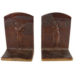 Art Deco Golf Bookends in Cast Bronze