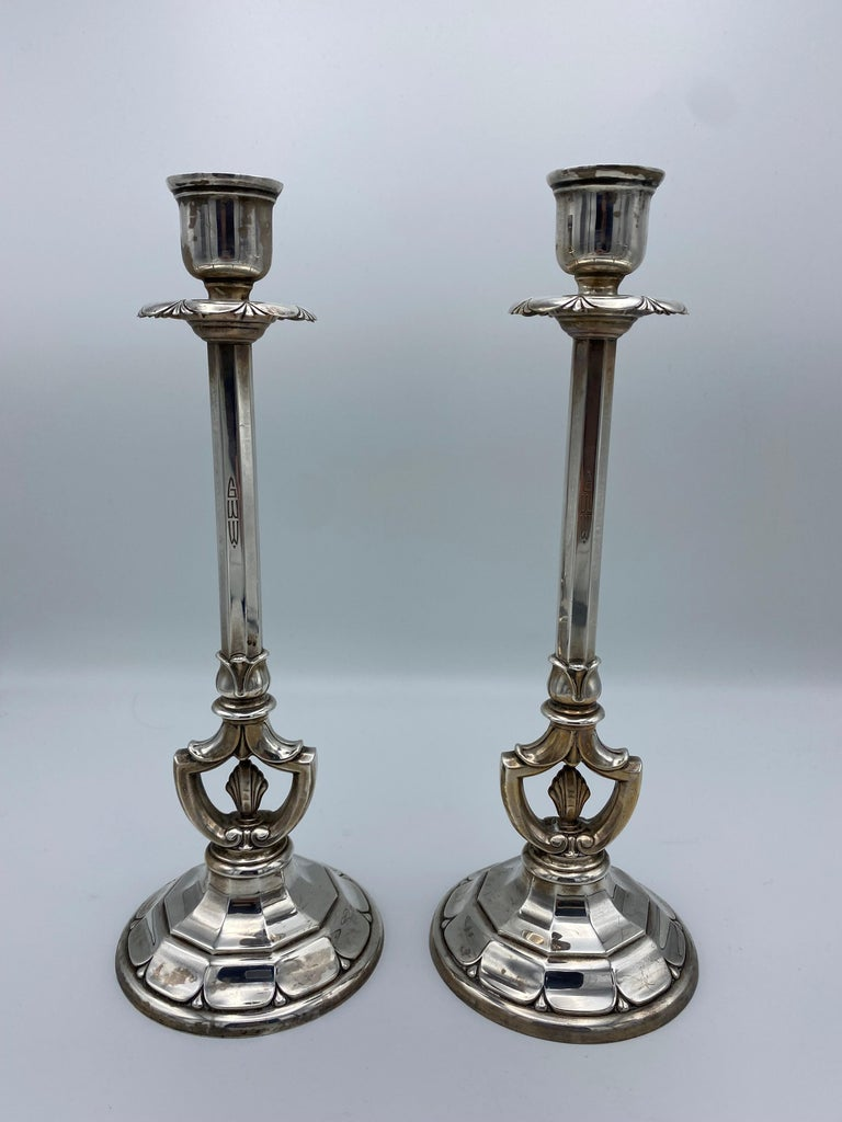 Art Deco Gorham Sterling Silver Candlesticks, Set of 4 In Excellent Condition For Sale In Beverly Hills, CA