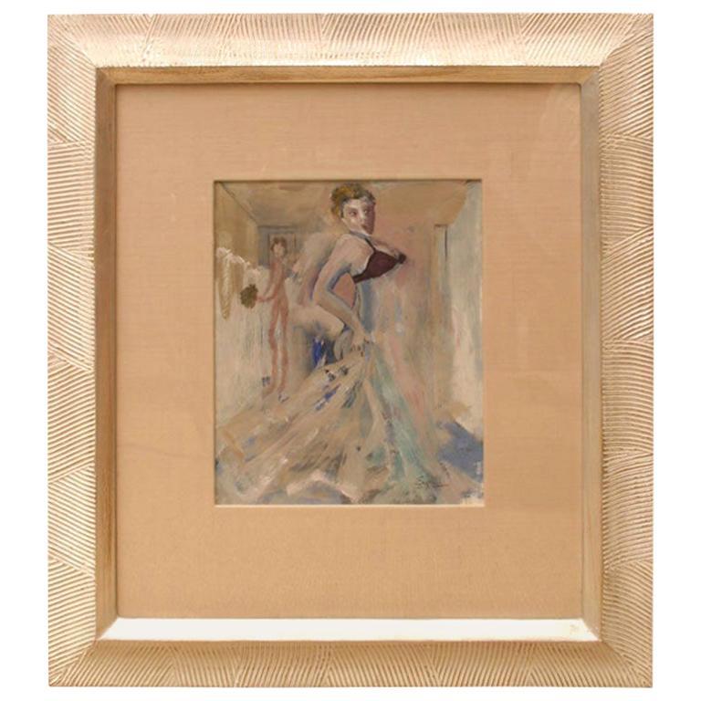 Art Deco Gouache and Watercolor Painting by Leo Engels Belgium Vintage For Sale