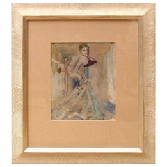 Art Deco Gouache and Watercolor Painting by Leo Engels Belgium Vintage