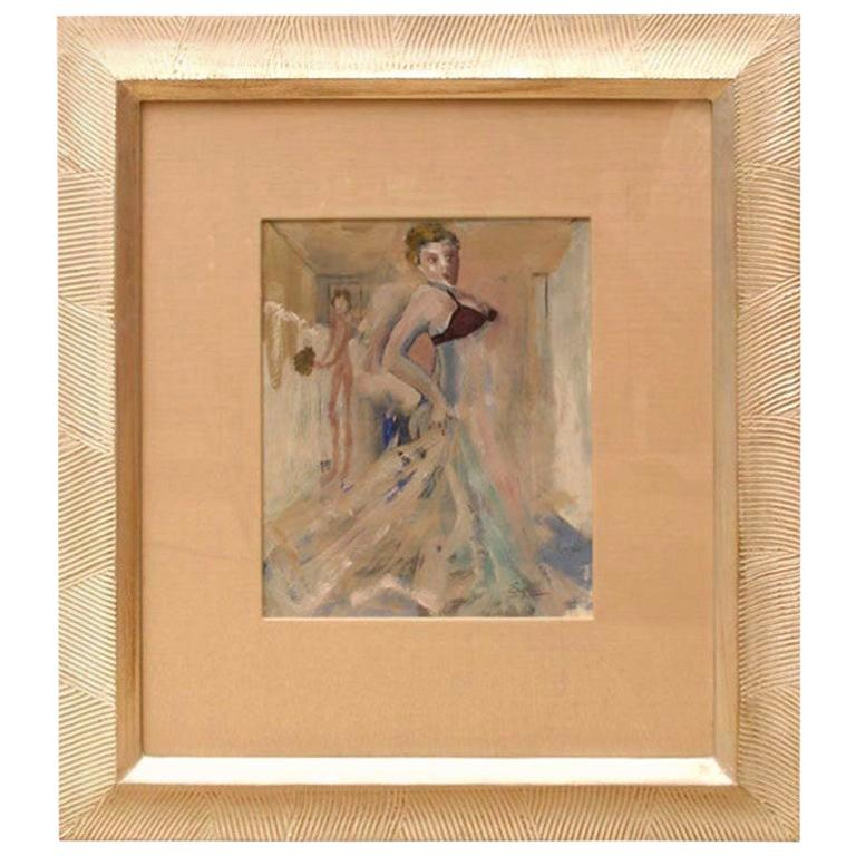 Art Deco Gouache and Watercolor Painting by Leo Engels Belgium Vintage