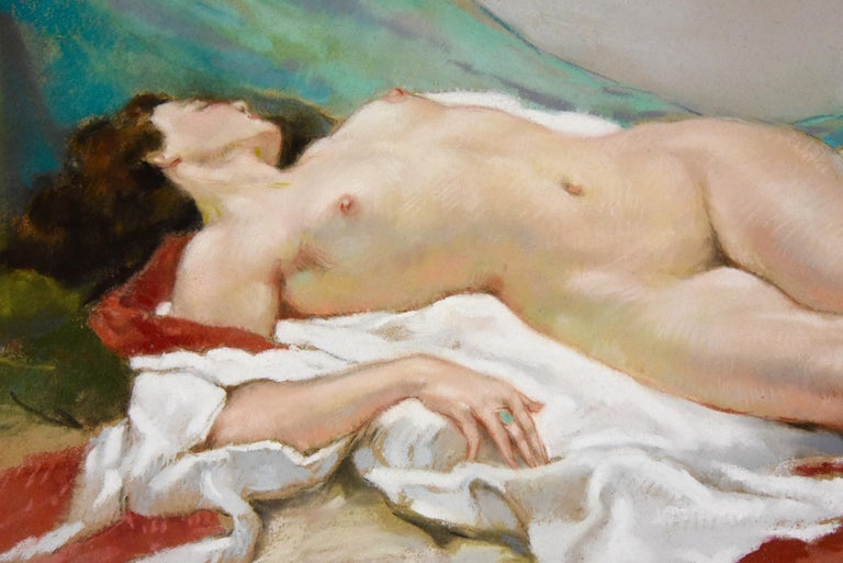French Art Deco Pastel of a Reclining Nude Yves Diey France 1940 For Sale