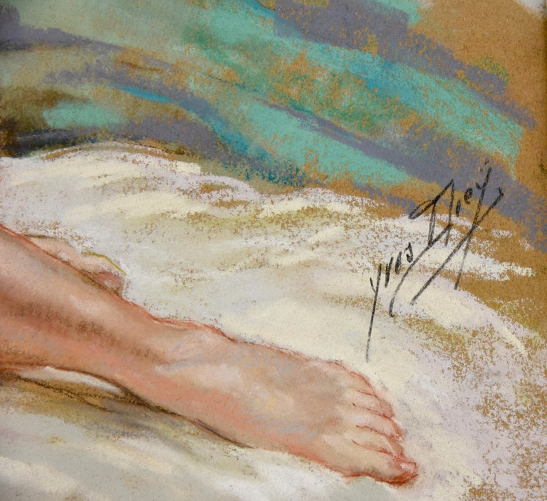 Art Deco Pastel of a Reclining Nude Yves Diey France 1940 In Good Condition For Sale In Antwerp, BE