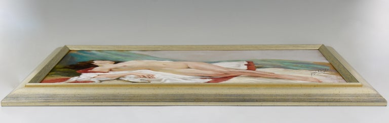 20th Century Art Deco Pastel of a Reclining Nude Yves Diey France 1940 For Sale