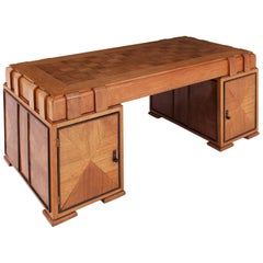 Art Deco Grand Oak Desk, France, 1940s