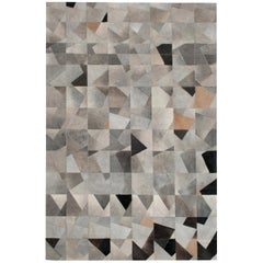 Art Deco Gray Black and Caramel Faceta Customizable Cowhide Area Floor Rug Large