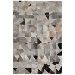Art Deco Gray Black & Caramel Faceta Customizable Cowhide Area Floor Rug X-Large
