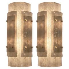 Art Deco Gray Murano Glass Sconces