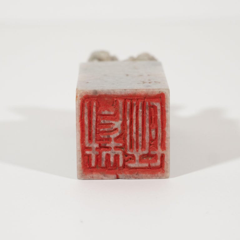 Art Deco Gray Stone Chinese Stamp with Hand Carved Guardian Lion Motif For Sale 1