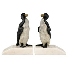 Art Deco Great Auk Penguin Bookends by Carvin France 1930