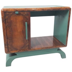 Art Déco Green and Briar Wood Italian Side Cabinet, 1930s