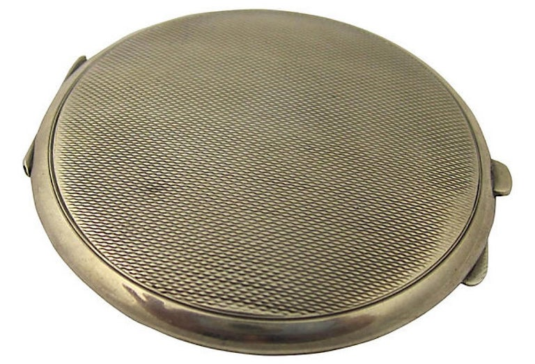 Art Deco Green Enamel English Sterling Silver Compact by Turner & Simpson For Sale 1