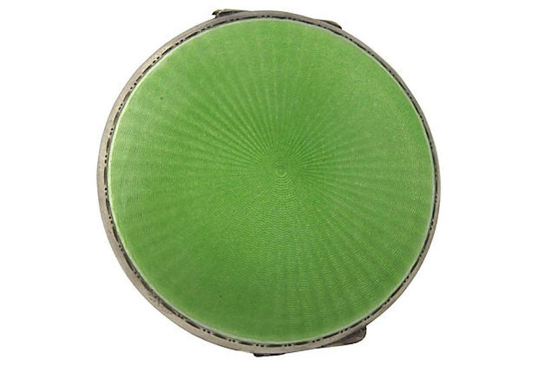 Art Deco Green Enamel English Sterling Silver Compact by Turner & Simpson For Sale 2